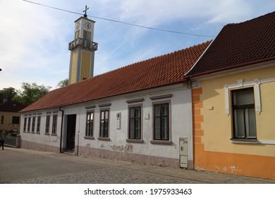 Native home of actress Anicky Jurkovicova on Komenskeho street in Nove mesto nad Vahom, west Slovakia - Shutterstock ID 1975933463