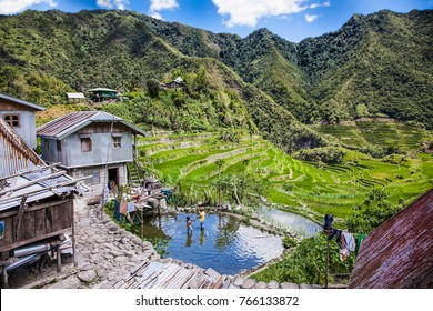 Native Ifugao hut in Batad , Central Luzon on Philipines, Southeast Asia