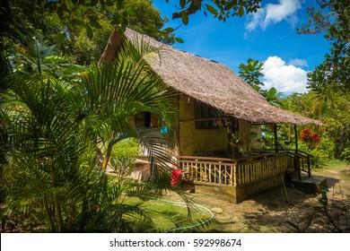 A native nipa hut deep in the jungle of Port Barton, Palawan