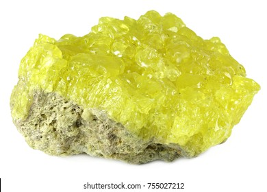 native sulfur from Potosi/ Bolivia isolated on white background