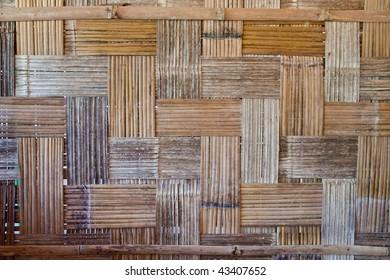 Native Thai style bamboo house wall