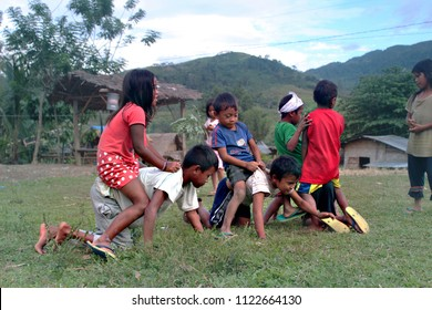 Native Tribal Children Playing, rural area in the Philippines, Happy little children. Taken at Arakan, North Cotabato, Philippines. Last April 2018.