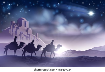 A nativity Christmas illustration of the three wise men magi on their journey following the star of Bethlehem and the city in the background