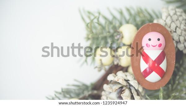 Nativity Christmas Seasonmanger Wooden Baby Boy Stock Photo Edit