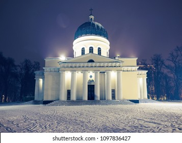 Nativity main central cathedral with snow at night in chisinau, moldova