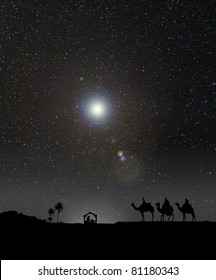 Nativity scene with 3 wise men and the Christmas star.