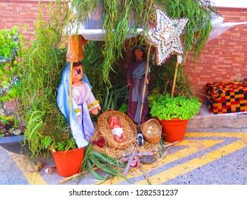 Nativity scene in Andalusian village street in December sunshine