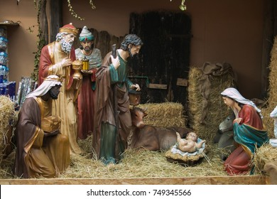 Nativity scene of Christ with colored figures