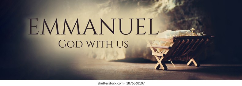 Nativity scene. Christian Christmas concept. Birth of Jesus Christ. Wooden manger in cave background. Banner, copy space. Jesus is reason for season. Salvation, Messiah, Emmanuel, God with us. Hope.