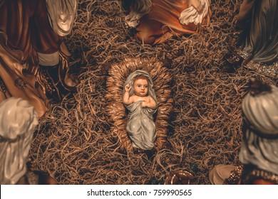 Nativity scene Christmas crib background