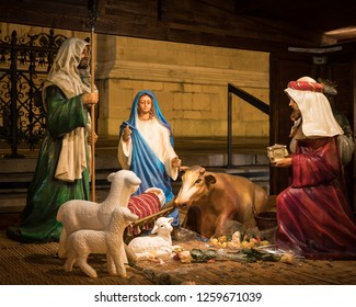 Nativity scene at the christmas market in Budapest
