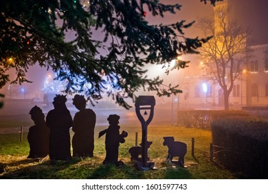 Nativity scene. Christmas time at night.