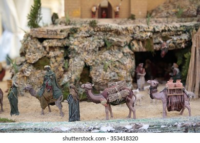 Nativity scene with clay figures