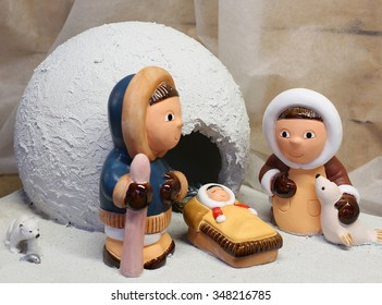 nativity scene with the Eskimos to the north pole and a white ice igloo