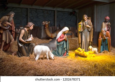 The Nativity scene at the Grotto in Portland OR.