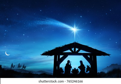 Nativity Scene With The Holy Family In Stable - contains 3d illustrations