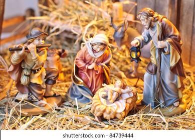 nativity scene; Jesus Christ, Mary and Josef