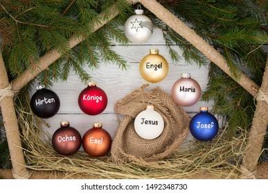 Nativity scene with Jesus Maria Joseph Angel Kings Shepherd Ox and Donkey