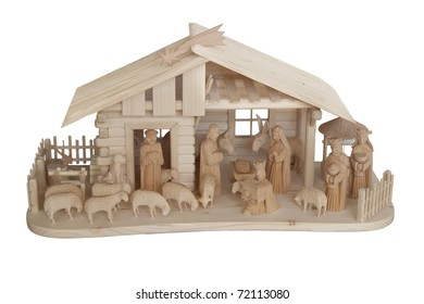 Nativity Scene made of wood, isolated on white
