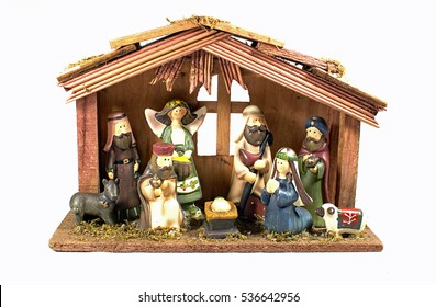 Nativity scene with Mary, Joseph and Jesus