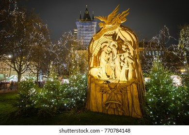 Nativity Scene on the Old Town Square in Prague, Czech Republic.