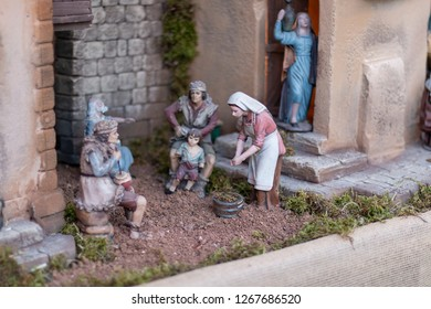 Nativity scene: people.