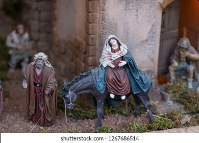 Nativity scene: pregnant virgin on donkey.
