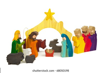 Nativity Scene in Stained Wood