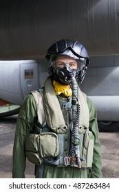 NATO DAYS, OSTRAVA, CZECH REPUBLIC - SEPTEMBER 18, 2016: Figurine of fighter pilot in front of military plane. Mannequin is wearing flight suit - helmet, mask for breathing, overall, vest