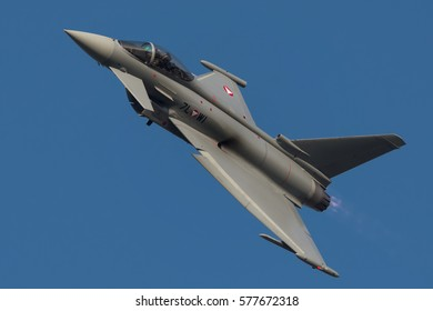 NATO DAYS, OSTRAVA, CZECH REPUBLIC - SEPTEMBER 15, 2016: Austrian Air Force Eurofighter Typhoon fly over Mosnov airport
