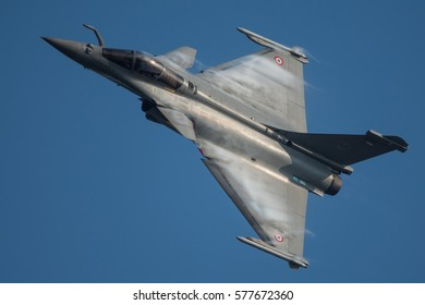 NATO DAYS, OSTRAVA, CZECH REPUBLIC - SEPTEMBER 15, 2016:  French Air Force Dassault Rafale fly over Mosnov airport