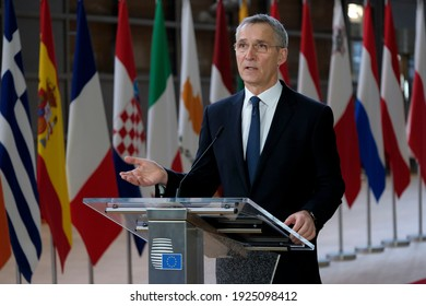 NATO Secretary General Jens Stoltenberg speaks to the press ahead of a video conference on security and defence and on the EU's Southern Neighborhood in Brussels, Belgium on February 26, 2021.