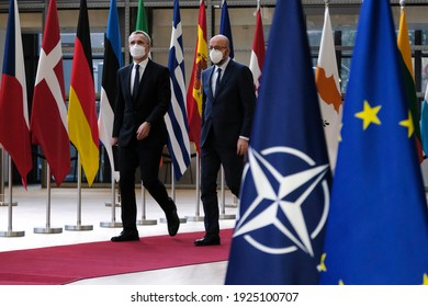 NATO Secretary General Jens Stoltenberg and European Council President Charles Michel arrive to attend in a video conference on security and defence  in Brussels, Belgium on February 26, 2021.
