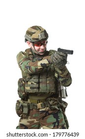 NATO soldier in full gear. Military man isolated over white background.