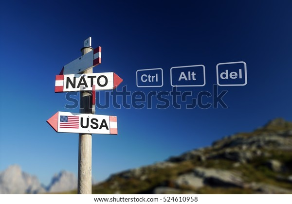 NATO and USA flags on signpost in mountains with ctrl alt del buttons. Quit NATO concept.