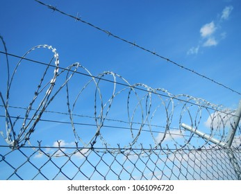 Nato Wire. Barbed Wire against bright blue sky