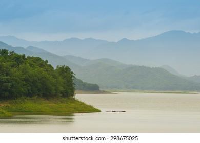 The Natrue and a water mist at Kaeng Krachan Dam Petcahburi Thailand