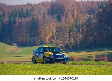 Nattheim, Germany - October 26, 2019: Subaru Impreza WRX STi rally racing car at the ADAC Junior + Retro Rallye Baden-Württemberg event.