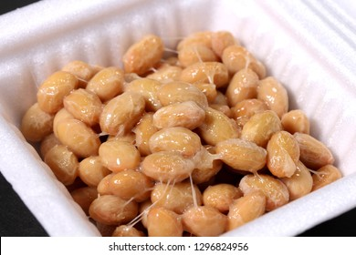Natto fermented soybeans in pack