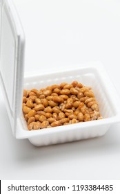 Natto, fermented soybeans in plastic container