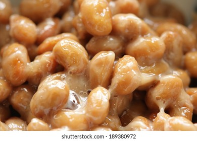 Natto (fermented soybeans.), a traditional Japanese food.