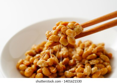 Natto on white background. Japanese food.