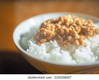 Natto(fermented soybeans) rice, Japanese food.