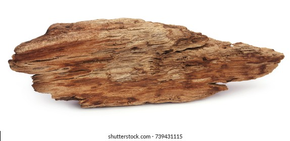 Natual driftwood over white background