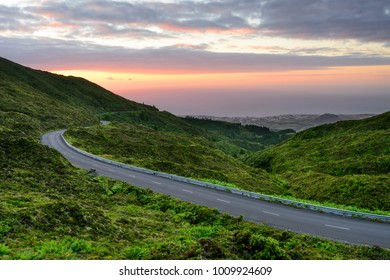 Natural amazing landscape at sunset. Fogo Lagoon on the island of Sao Miguel. Azores are one of the main Easter and Summer holiday destinations in Portugal, ocated between Europe and America.