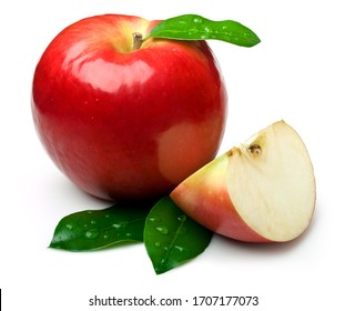 Natural Apple with leaf on white. This file is cleaned, retouched and contains clipping path.