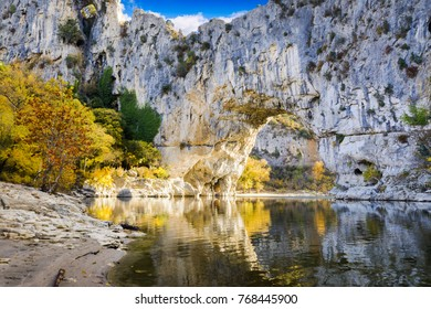 Natural arch over the river at Pont d'Arc in Ardeche in France