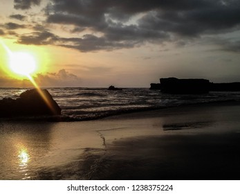 Natural Atmosphere Of Sunset Moment By The Beach At Batu Bolong Beach, Canggu Village, Badung, Bali, Indonesia