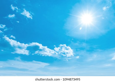 Natural backgound of blue sky with clouds and sun