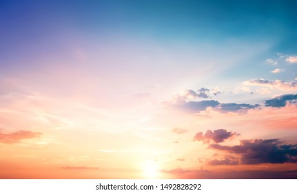 Natural background concept: Sunset blue sky and clouds backgrounds